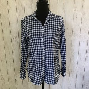 J. Crew Navy Gingham Long Sleeve Top Size 8